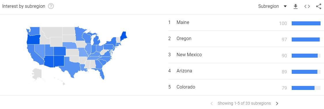 Home business starting tips - see the region of the country to help you target your product using Google Trends